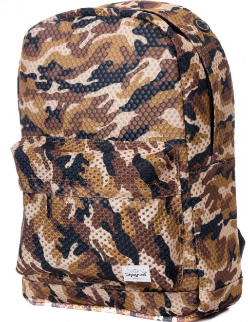 Brown Spiral Forest Camo-Mesh Backpack