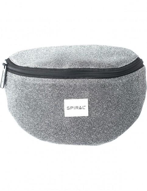 Spiral Glitter Bum Bag in Silver