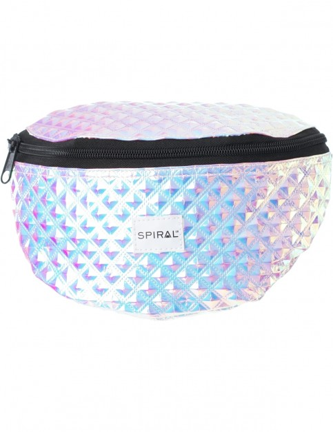 Spiral Holographic Shimmer Bum Bag in Silver Glitter