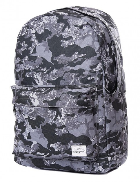 Spiral Monochrome Camo Backpack in Black