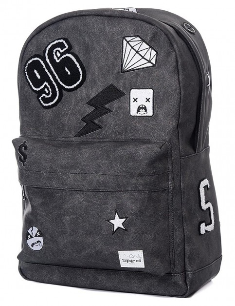 Spiral Monochrome Patch Backpack in Black