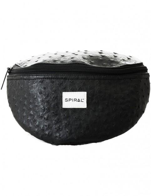 Spiral Ostrich Bum Bag in Black