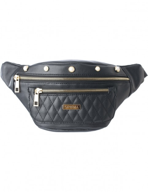 Spiral Quilted Pearl Bum Bag in Black