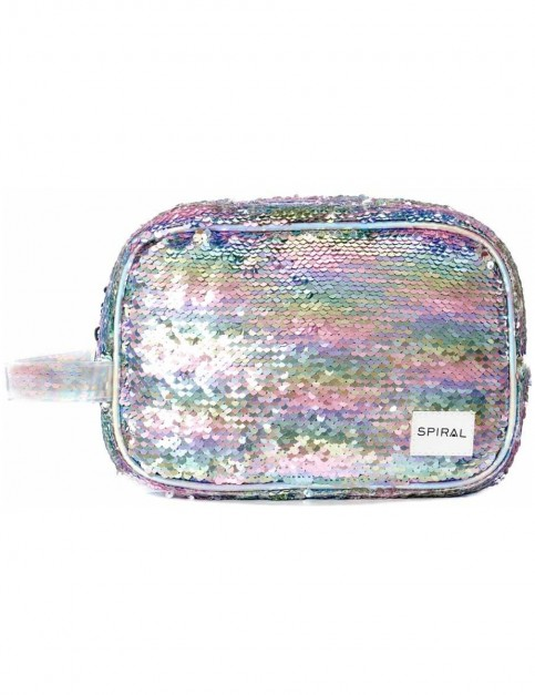 Spiral Rainbow Sequins Wash Bag