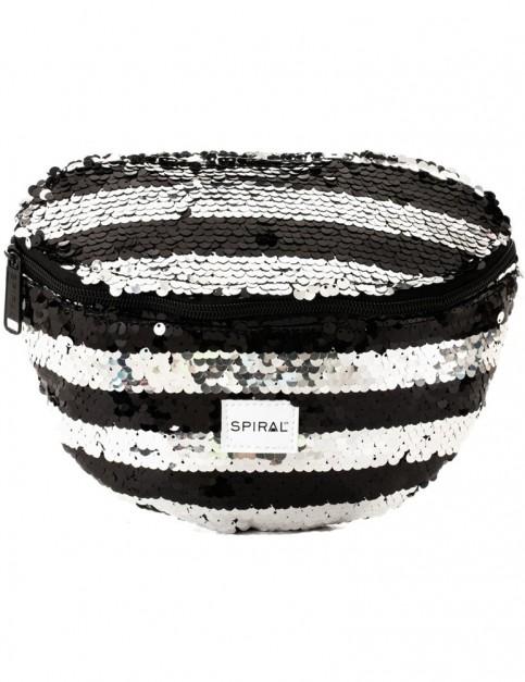 Spiral Silver-Black Stripe Sequins Bum Bag