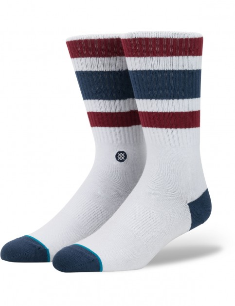 Stance Boyd 3 Crew Socks in White/Red