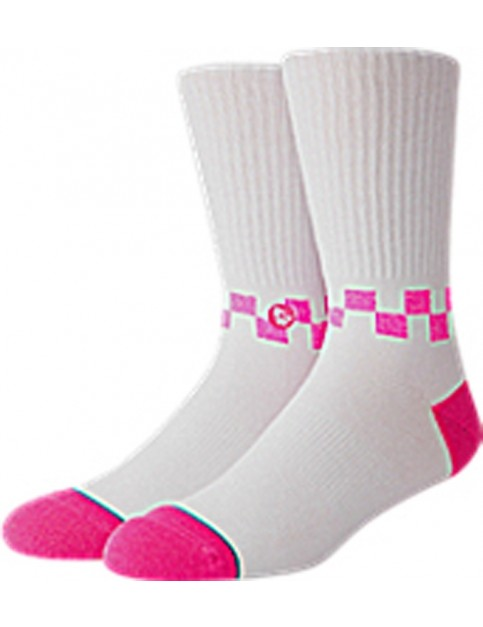 Stance Checkness Crew Socks in Neon Pink