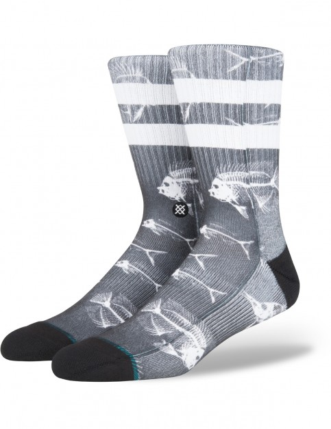 Stance Fish Bone Crew Socks in Black
