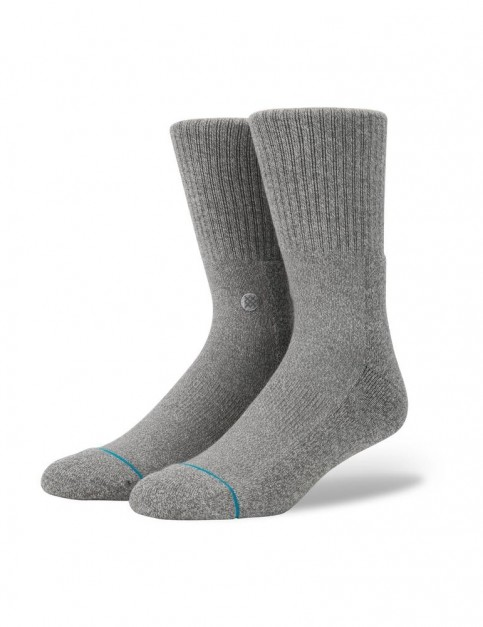 Stance Icon 3 Pack Crew Socks in Grey Heather