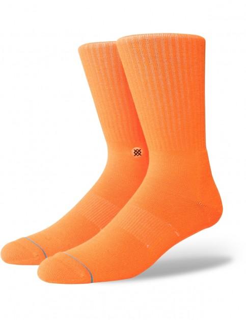 Stance Icon Anthem Crew Socks in Florescent Orange