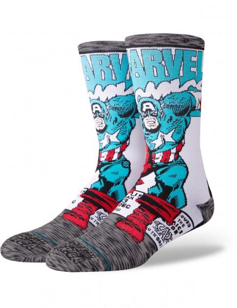 Stance Marvel Captain America Comic Crew Socks in Grey