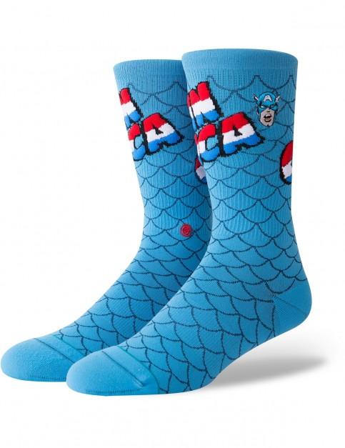 Stance Marvel Captain America Crew Socks in Blue
