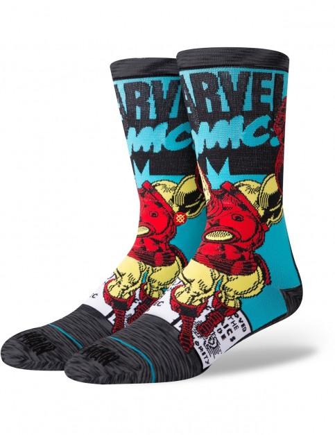 Stance Marvel Iron Man Comic Crew Socks in Grey
