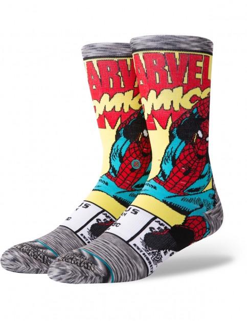 Stance Marvel Spiderman Comic Crew Socks in Grey