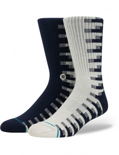 Stance Oak Crew Socks in Navy