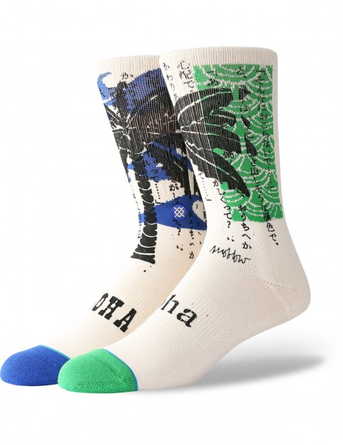 Stance Oblow Palm Crew Socks in Natural