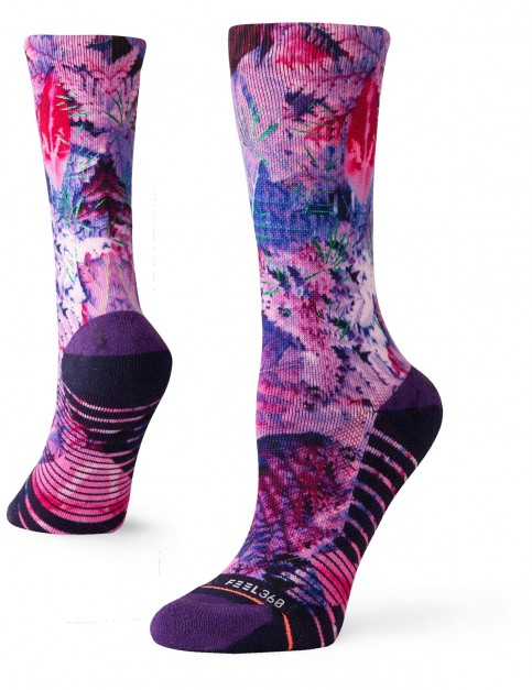 Stance Palm Crew Crew Socks in Purple