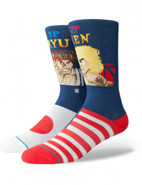 Stance Ryu Vs Ken Crew Socks in Navy