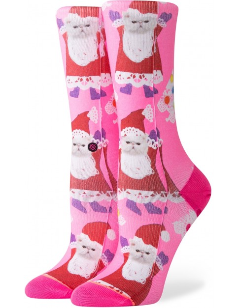 Stance Santipaws Crew Crew Socks in Pink