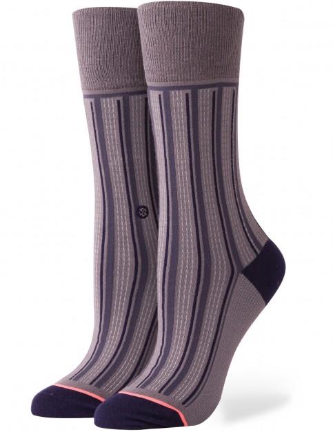 Stance Stripe Down Crew Socks in Charcoal