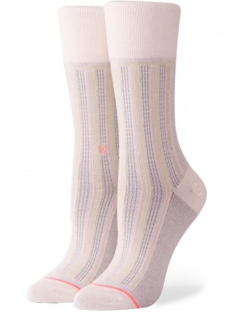 Stance Stripe Down Crew Socks in Cream