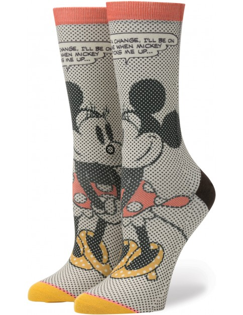 Stance Tick Tock Minnie Crew Socks in Off White