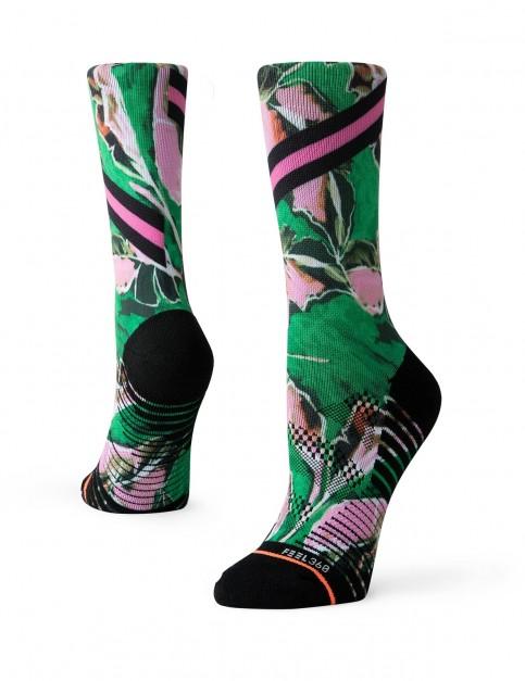 Stance Varsity Floral Crew Socks in Green