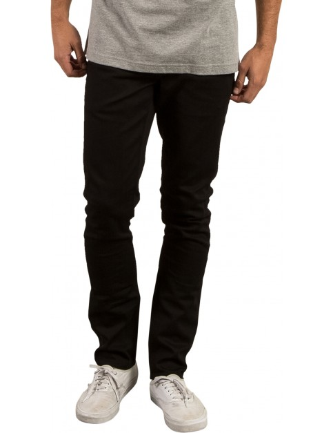 Volcom 2X4 Denim Straight Fit Jeans in Black On Black