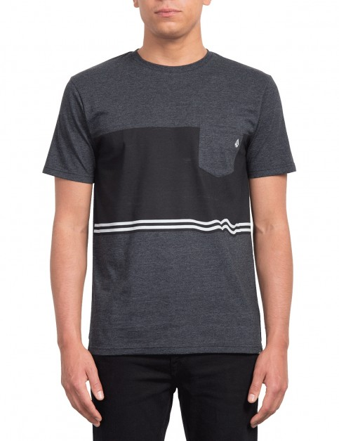Volcom 3 Quarter Short Sleeve T-Shirt in Heather Black