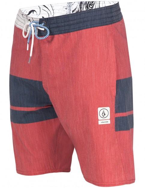 Orange Red Volcom 3 Quarter Slinger Mid Length Boardshorts