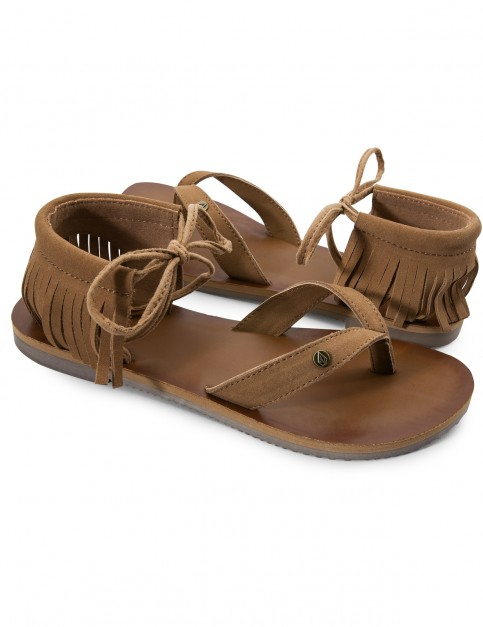 Volcom All Access Wedge Sandals in Cognac