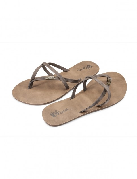 Volcom All Night Long Flip Flops in Brown