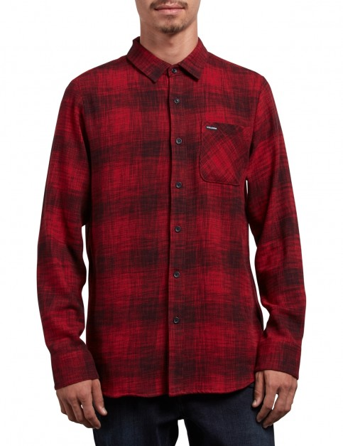 Volcom Buffalo Glitch Long Sleeve Shirt in Engine Red