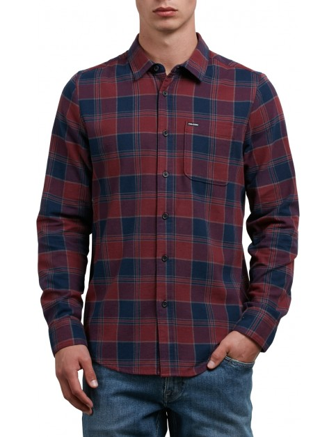 Volcom Caden Long Sleeve Shirt in Crimson