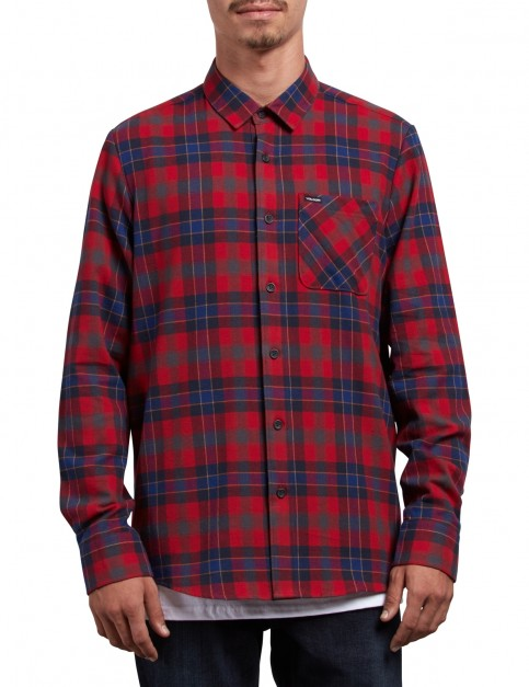 Volcom Caden Plaid Long Sleeve Shirt in Engine Red