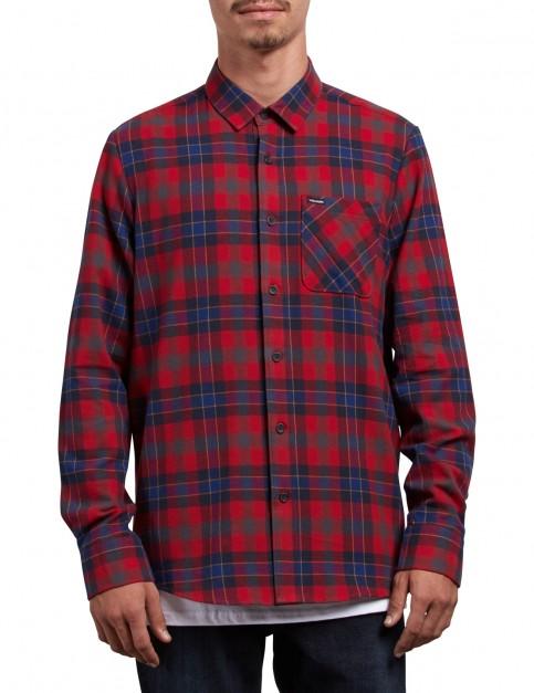 Volcom Caden Plaid Long Sleeve Shirt in Engine Red