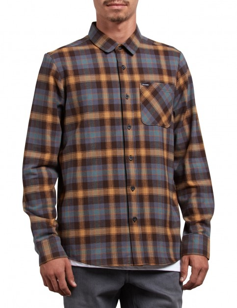 Volcom Caden Plaid Long Sleeve Shirt in Espresso