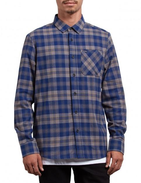 Volcom Caden Plaid Long Sleeve Shirt in Matured Blue
