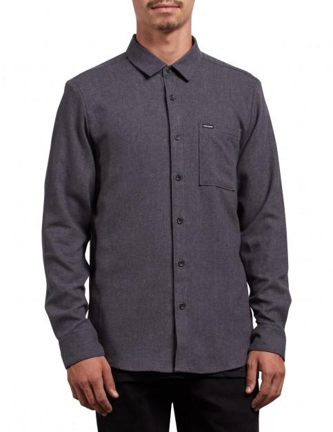 Volcom Caden Solid Long Sleeve Shirt in Asphalt Black