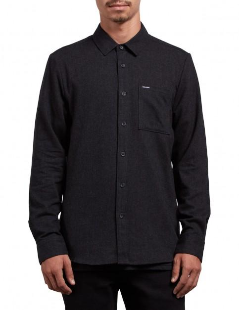 Volcom Caden Solid Long Sleeve Shirt in Black