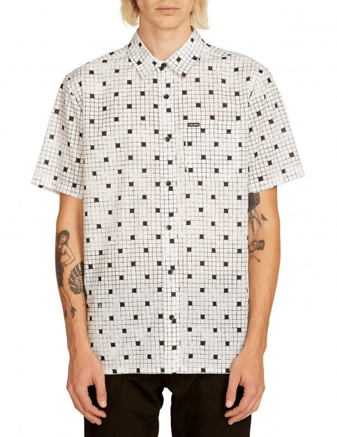 Volcom Crossed Up S/S Short Sleeve Shirt in White