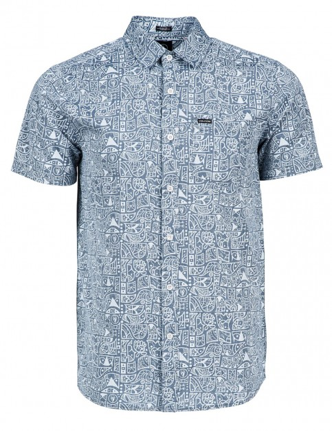 Volcom Don Pendleton Short Sleeve Shirt in Grey Blue