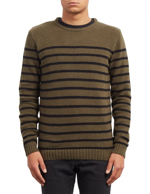 Volcom Edmonder Striped Jumper in Military