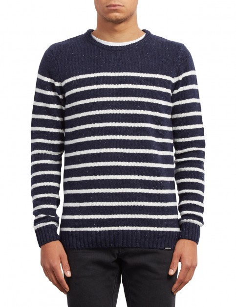 Volcom Edmonder Striped Jumper in Navy