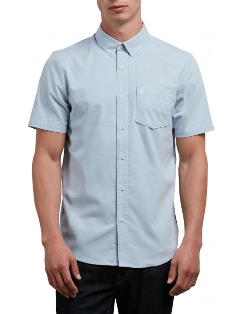 Volcom Everett Oxford Short Sleeve Shirt in Wrecked Indigo