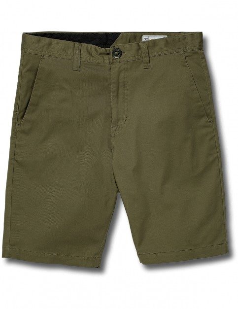 Volcom Frickin Modern Stretch Chino Shorts in Army