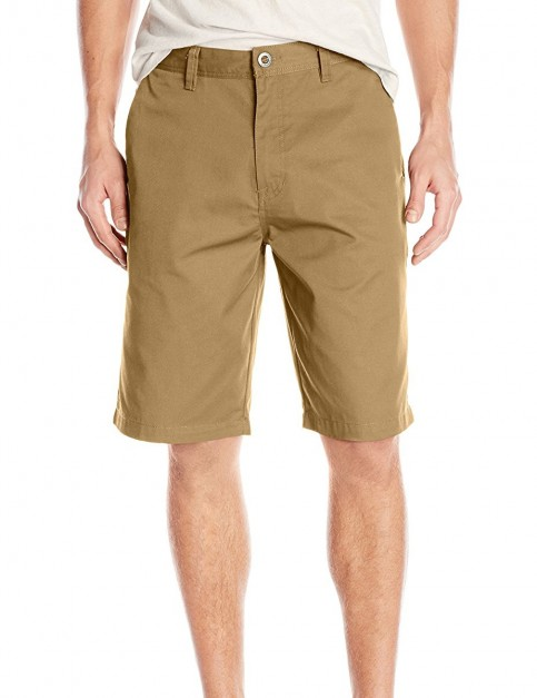 Volcom Frickin Modern Stretch Chino Shorts in Dark Khaki