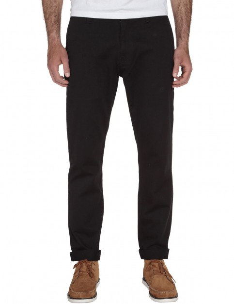Black Volcom Frickin Reg Slim Fit Trousers