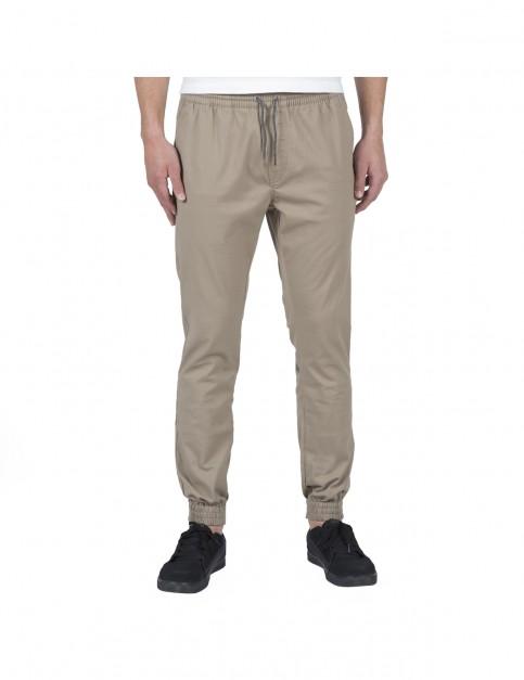 Volcom Frickin Slim Jogger Track Trousers in Khaki