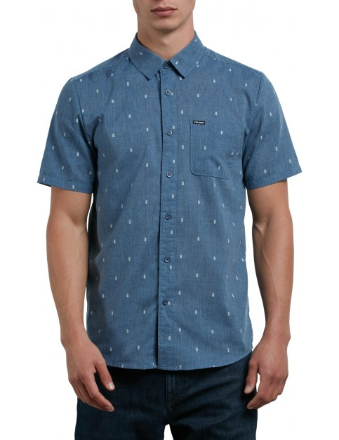 Volcom Gladstone Short Sleeve Shirt in Deep Blue